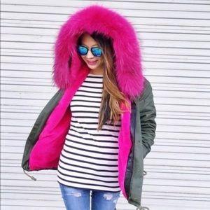 BNWT Tiff & Jen Fox fur military Jacket lined Sz S